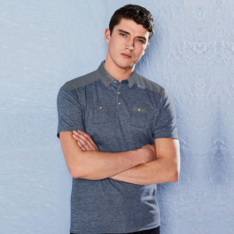 NEXT Single Jersey Polo Shirt For Men-Blue Melange-BE5064