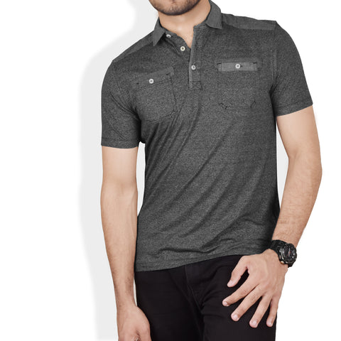 NEXT Single Jersey Polo Shirt For Men-Char Col Melange-SA005