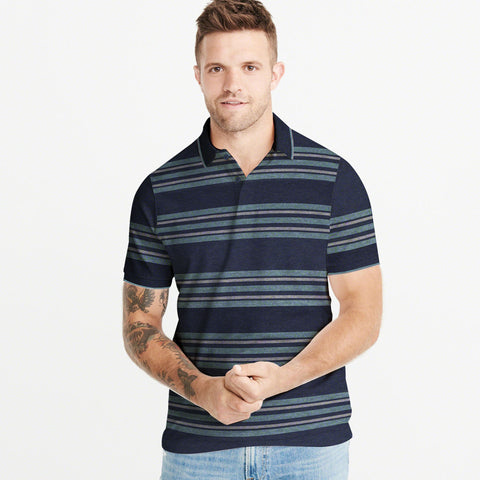 Next Single Jersey Polo Shirt For Men-Dark Navy & Stripe-BE5071