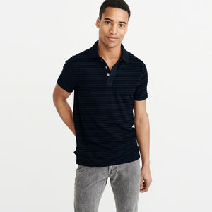 NEXT Single Jersey Polo Shirt For Men-Dark Navy with Dotted Lining-BE5509