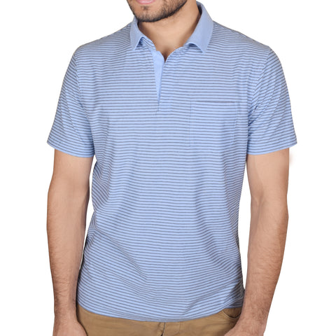 Next-Single Jersey Polo Shirt For Men-Sky with Black Stripes-SA0003