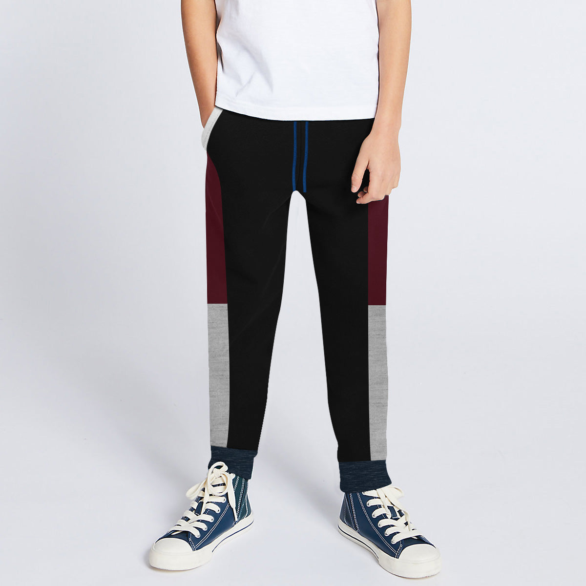 Next Slim Fit Jogger Trouser For Kids-Black with Maroon & Grey Melange Panels-BE11283