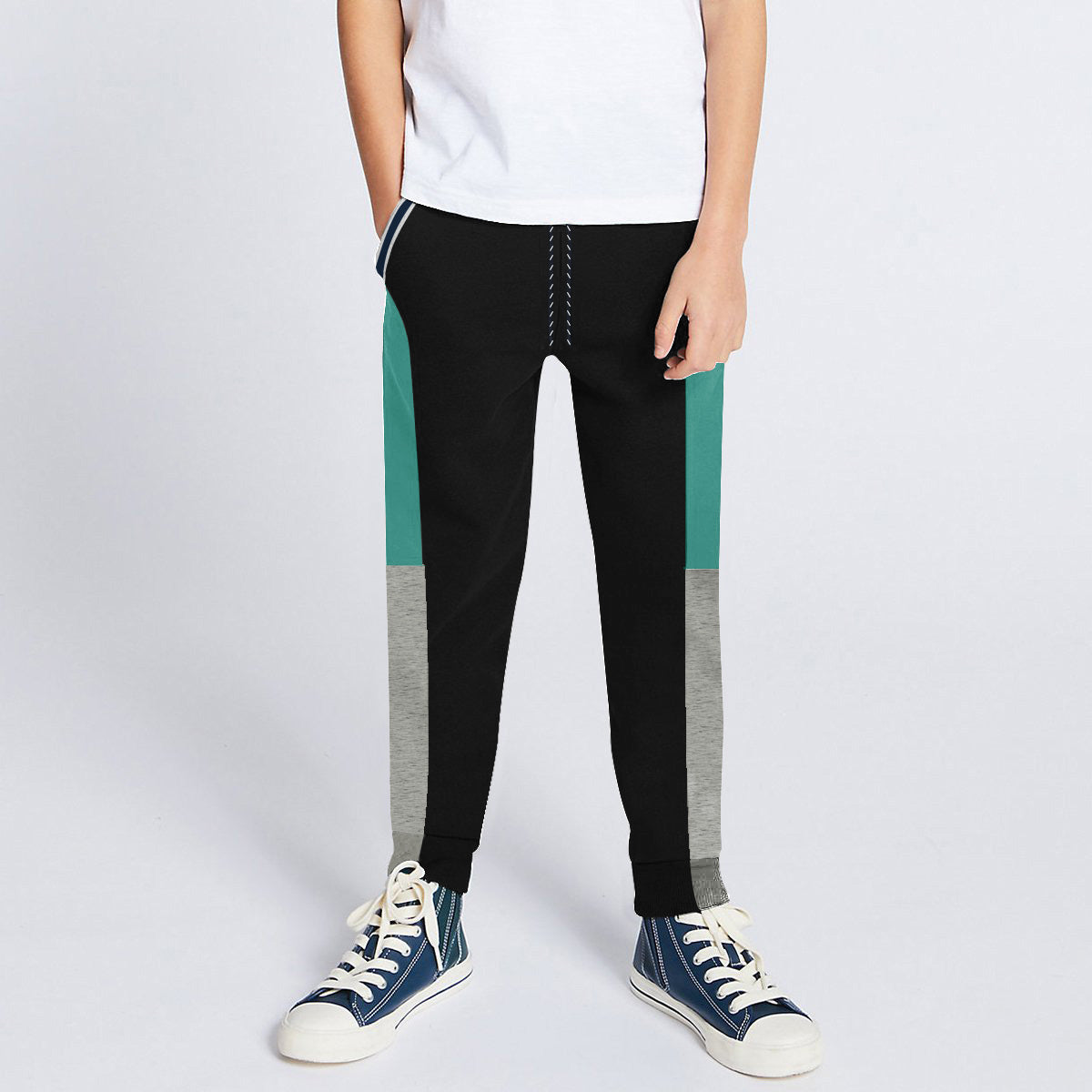 Next Slim Fit Jogger Trouser For Kids-Black with Cyan & Grey Melange Panels-SP2681