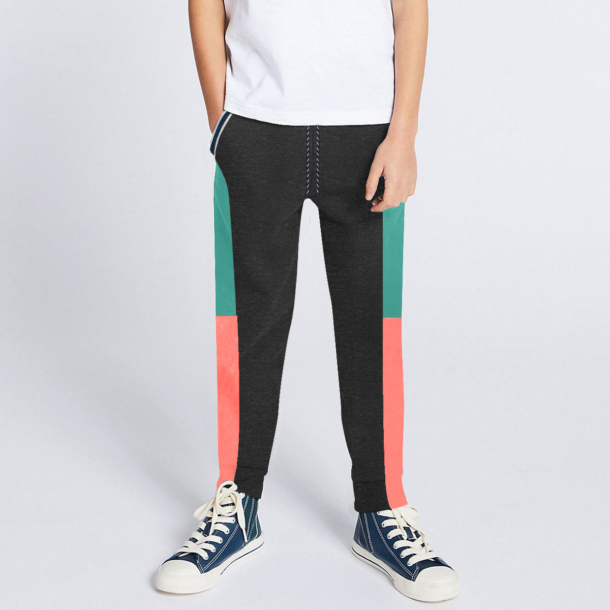 Next Slim Fit Jogger Trouser For Kids-Charcoal with Cyan & Laim Pink Panels-SP2679