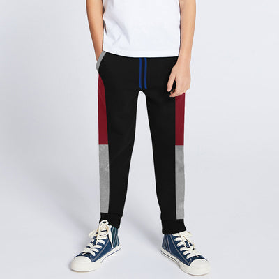 Next Slim Fit Jogger Trouser For Kids-Black with Red & Grey Melange Panels-BE11268