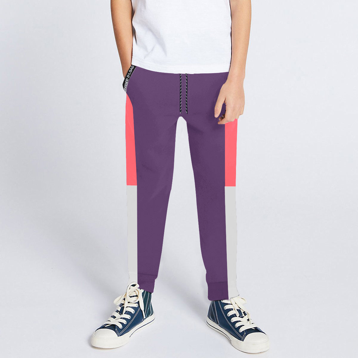 Next Slim Fit Jogger Trouser For Kids-Light Purple with Light Pink & White Panels-SP2684