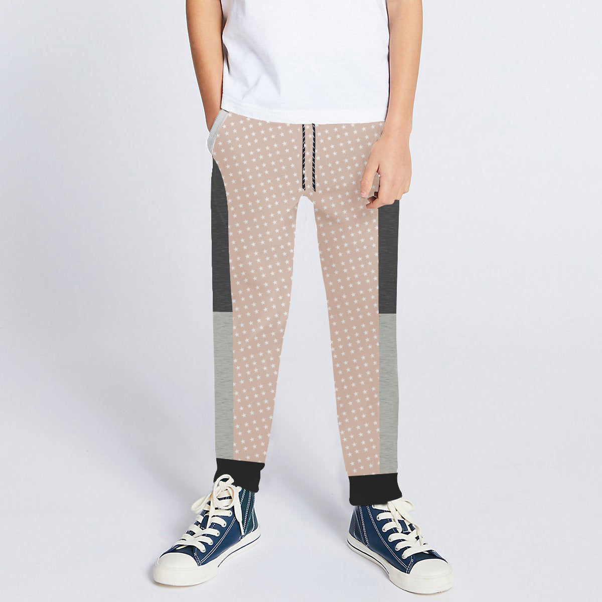 Next Slim Fit Jogger Trouser For Kids-Light Peach Melange with All Over Star Print & Panels-SP2677