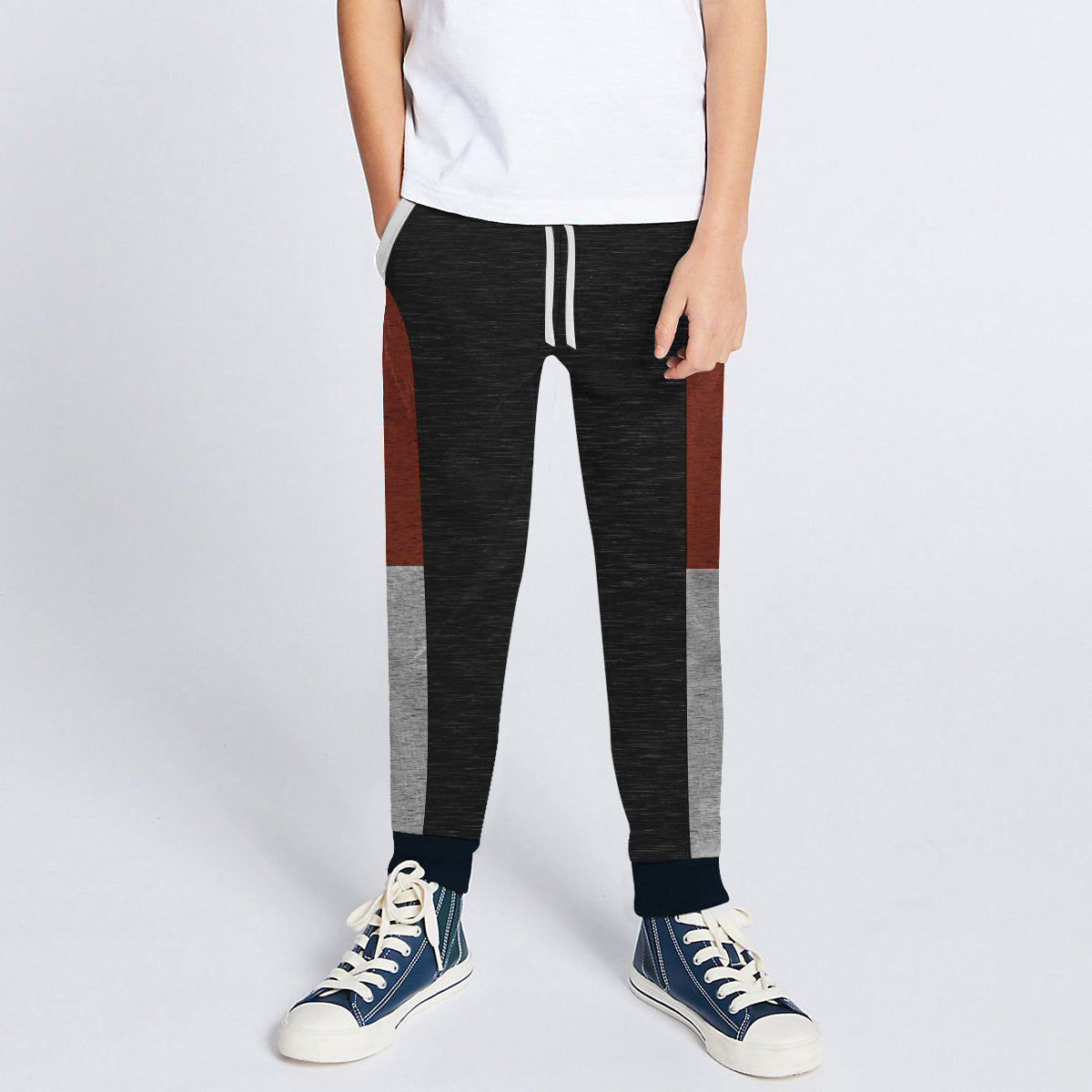 Next Slim Fit Jogger Trouser For Kids-Black Melange with Dark Maroon & Grey Melange Panels-SP2678