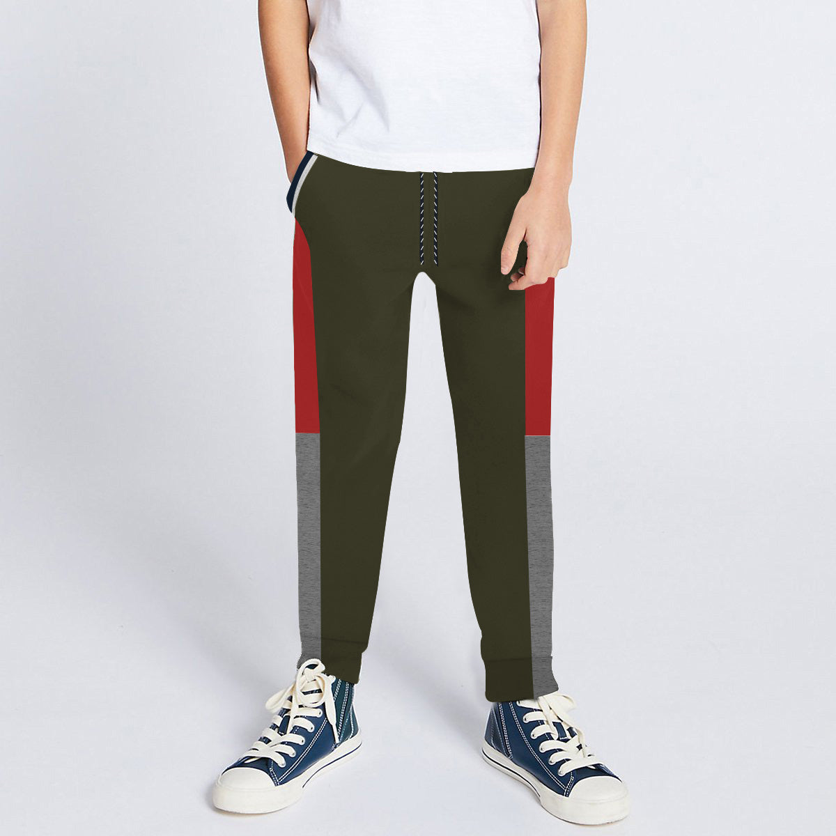 Next Slim Fit Jogger Trouser For Kids-Olive with Red & Grey Melange Panels-SP2683