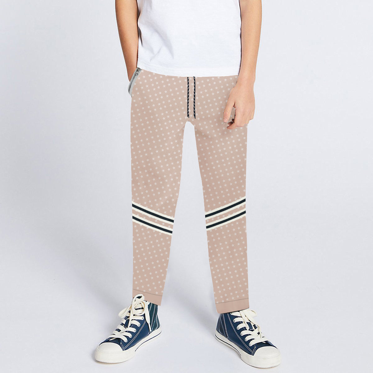 Next Slim Fit Jogger Trouser For Kids-Light Peach with All Over Star Print-SP2676