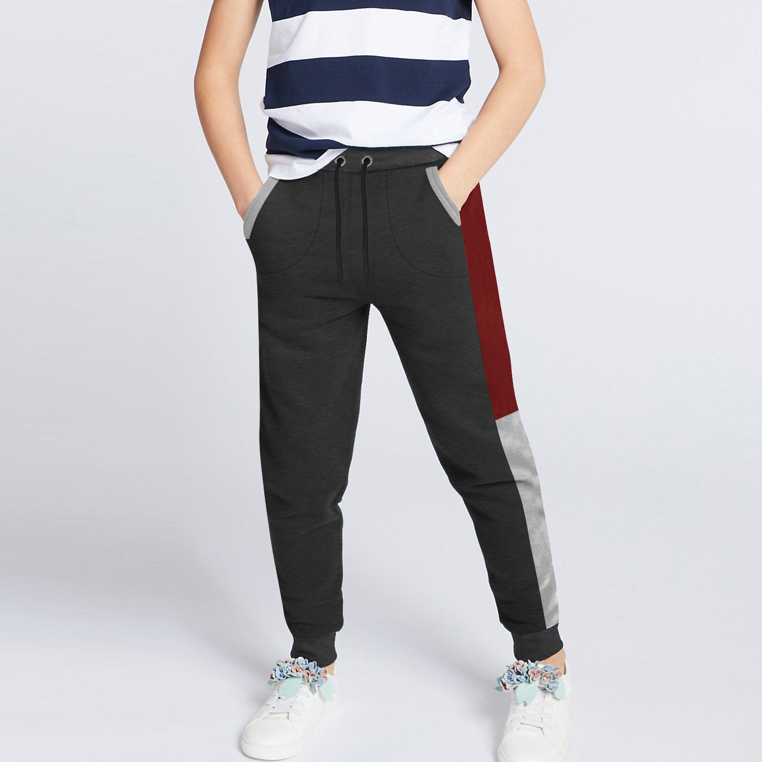 Next Slim Fit Jogger Trouser For Kids-Charcoal with Red & Grey Melange Panels-SP2594