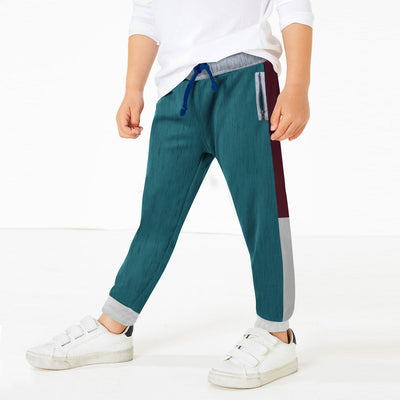 Next Slim Fit Jogger Trouser For Kids-Ferrozi with Maroon & Grey Panel-BE11275