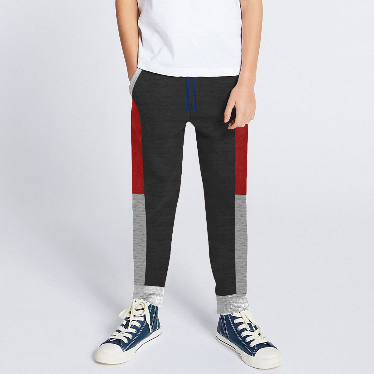 Next Slim Fit Jogger Trouser For Kids-Charcoal with Red & Grey Melange Panels-SP2641