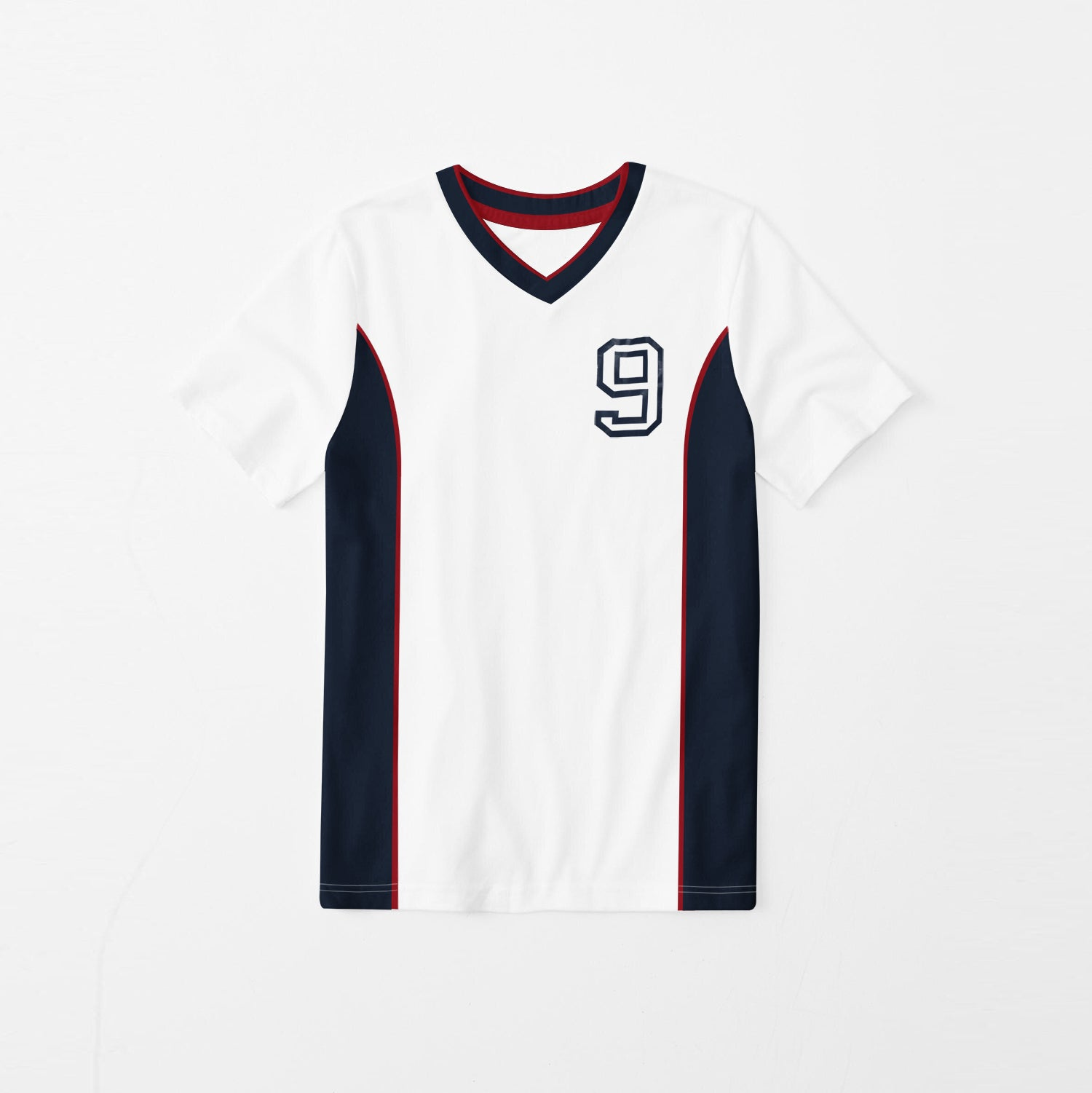 Next Sports Wear V Neck Tee Shirt For Kids-White & Navy-BE9100