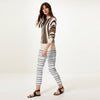 Next Straight Fit Cotton Trouser For Ladies-White & Stripe-BE8645