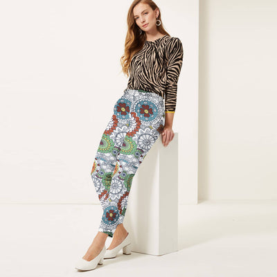 brandsego - Next Straight Fit Cotton Trouser For Ladies-Allover Print-BE8649