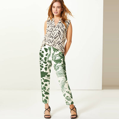 brandsego - Next Straight Fit Cotton Trouser For Ladies-Allover Print-BE8651