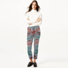 Next Straight Fit Cotton Trouser For Ladies-Dark Grey with Allover Print-BE8652