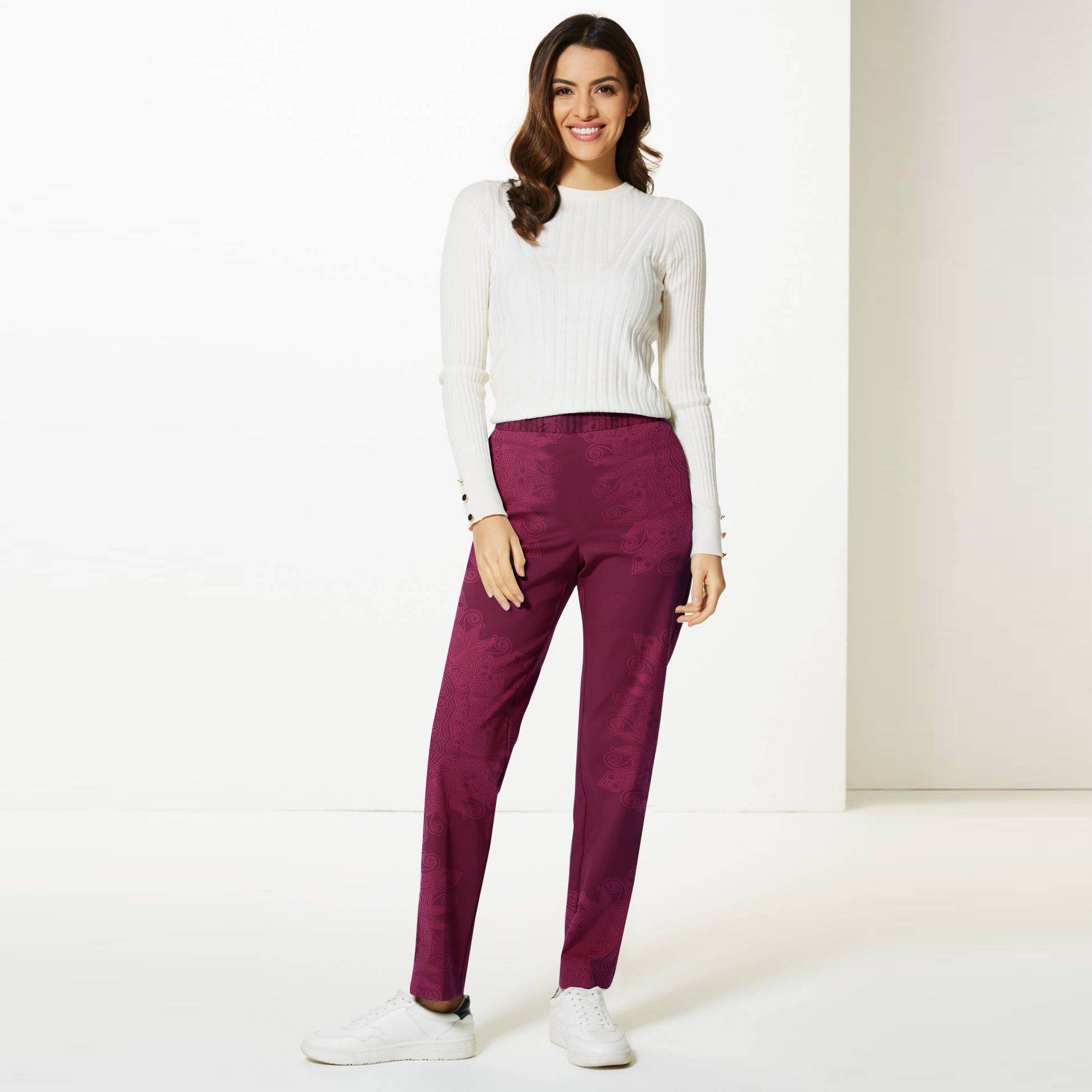 Next Straight Fit Cotton Trouser For Ladies-Dark Maroon with Print-BE8648