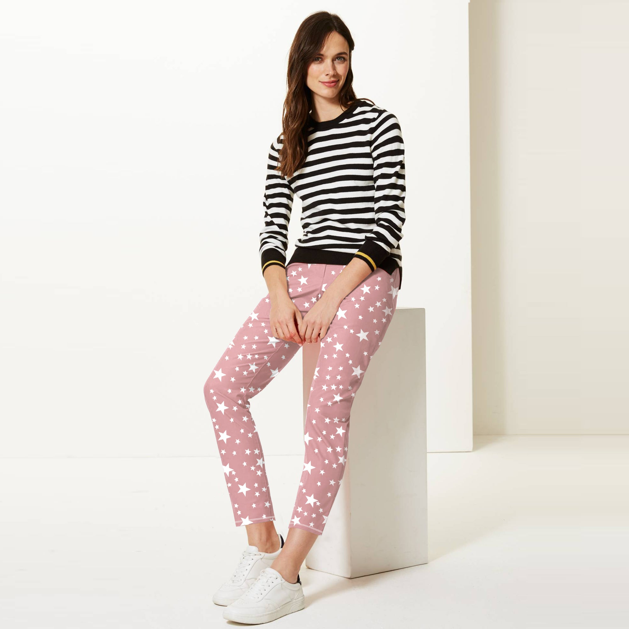 Next Straight Fit Cotton Trouser For Ladies-Light Pink with Stars-BE8646