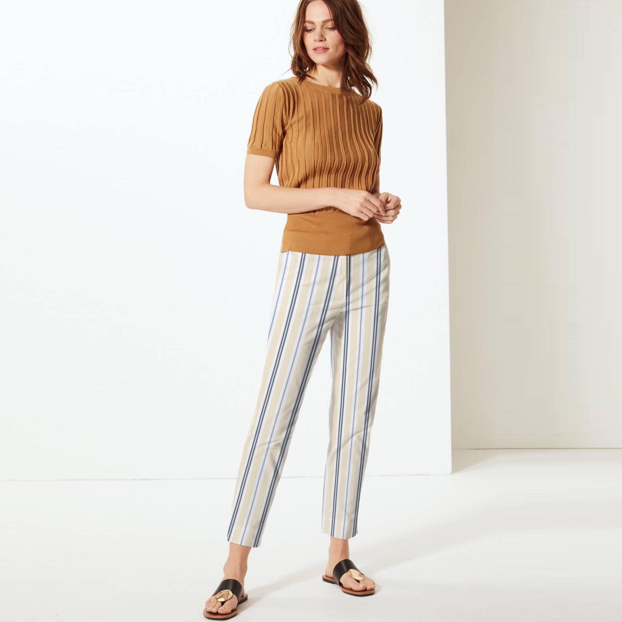 brandsego - Next Straight Fit Cotton Trouser For Ladies-Striped-BE8647