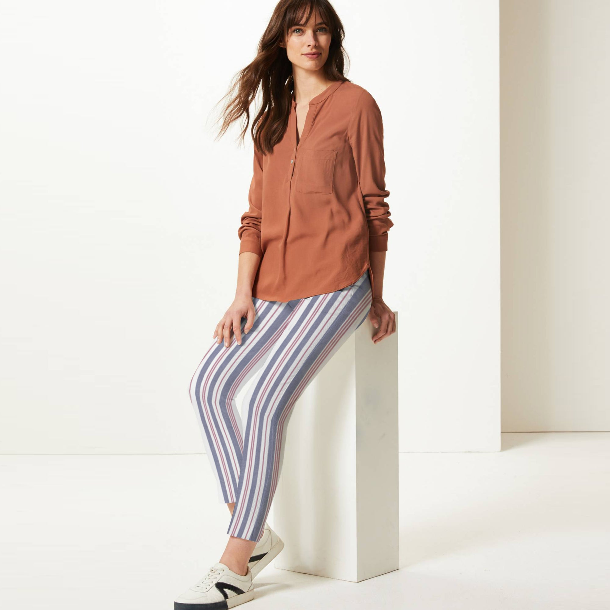 Next Straight Fit Cotton Trouser For Ladies-Striped-BE8640