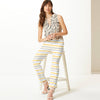 Next Straight Fit Cotton Trouser For Ladies-White with Stripe-BE8638
