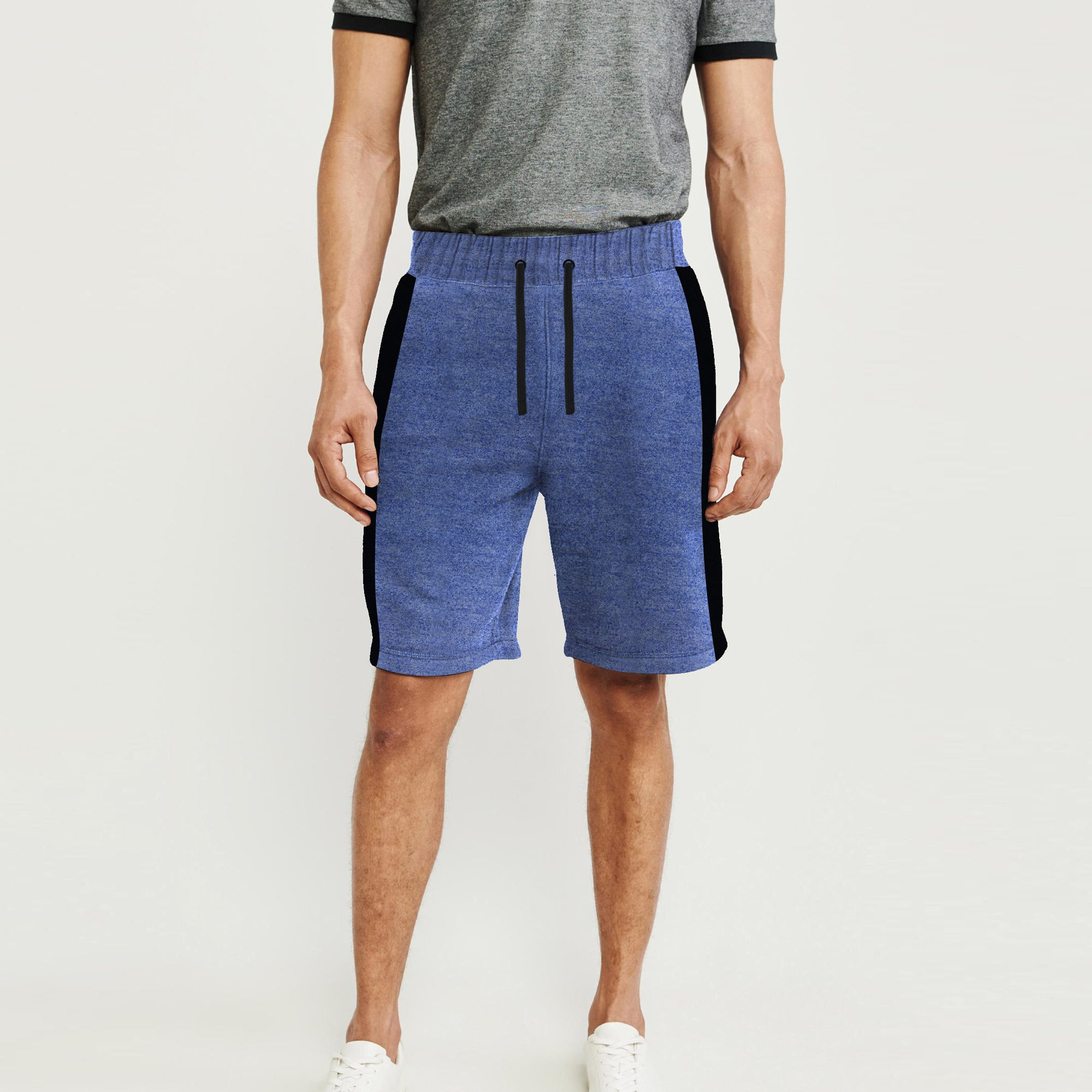 Next Summer Terry Jersey Short For Men-Blue Melange & Black Stripe-BE8827