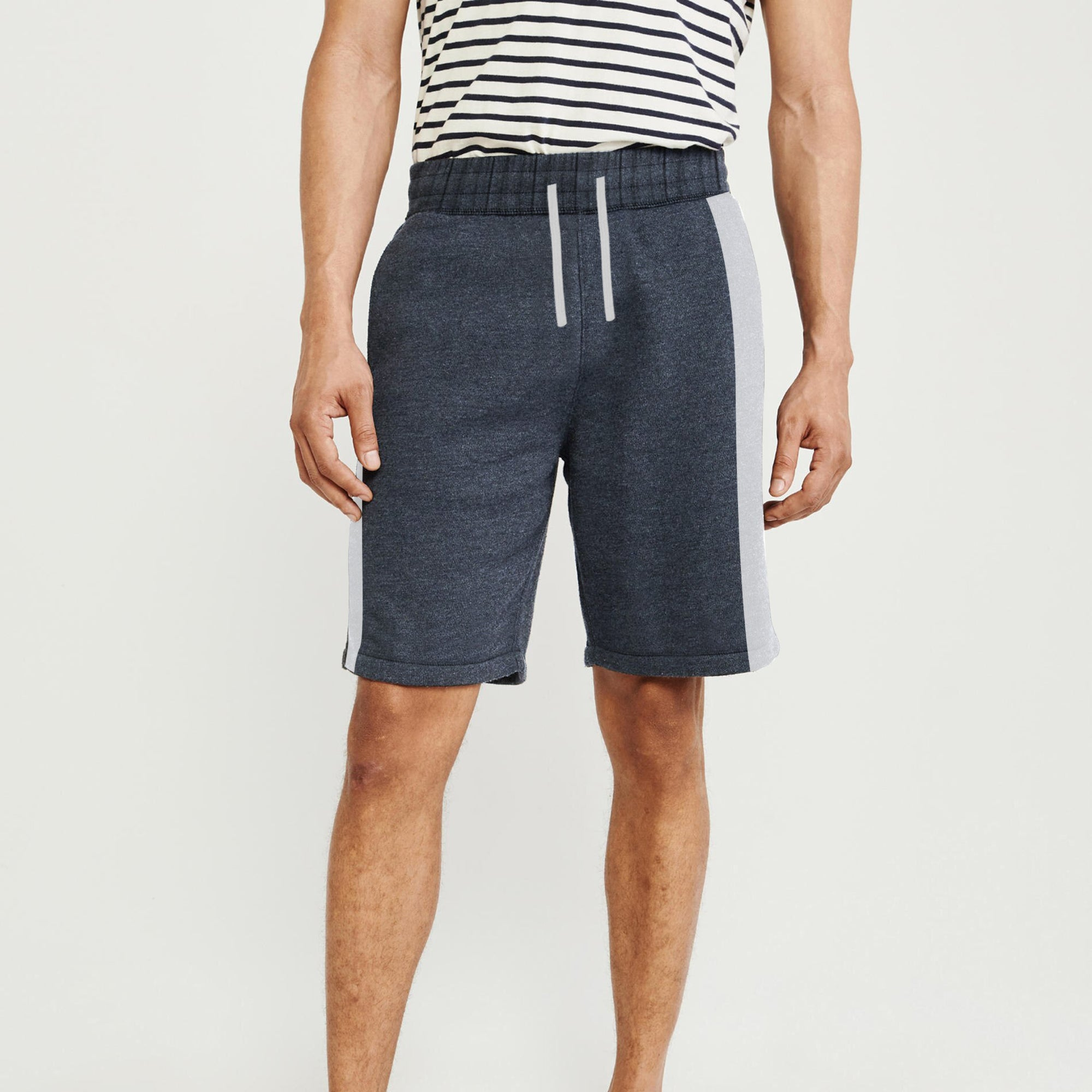 Next Summer Terry Jersey Short For Men-Dark Navy Melange & Grey Melange Stripe-BE8836
