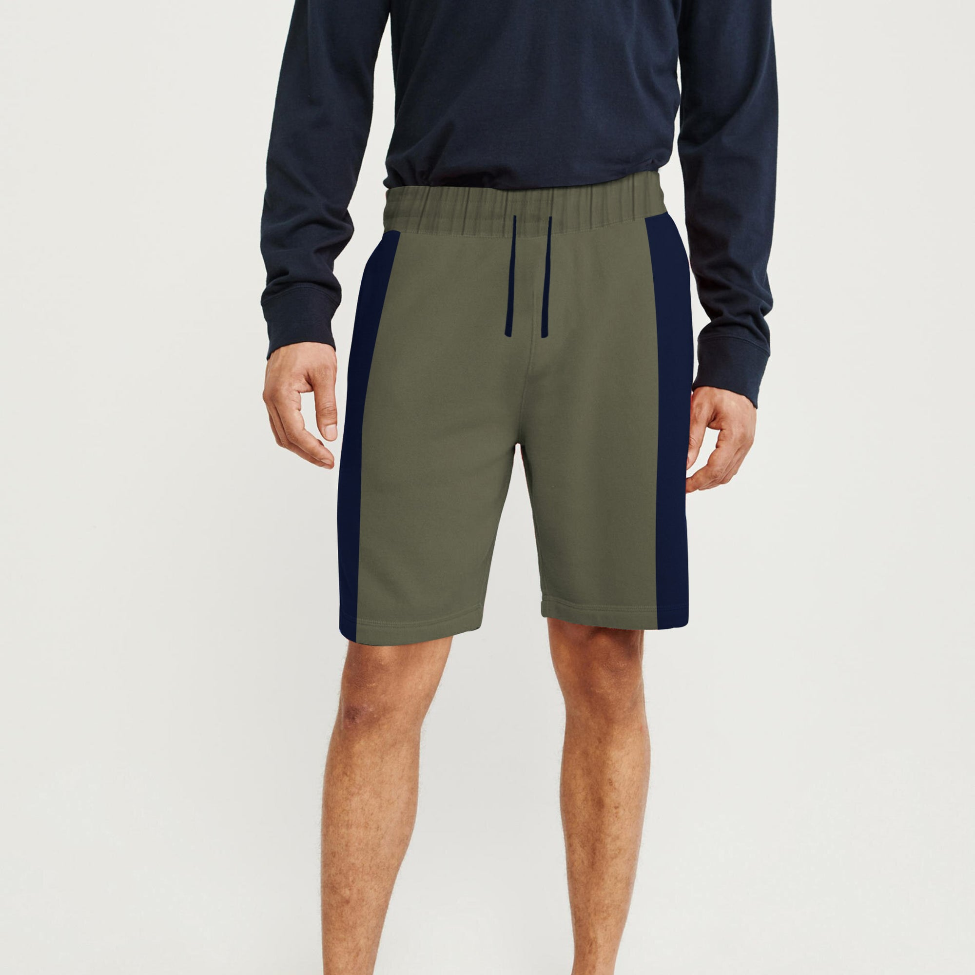 Next Summer Terry Jersey Short For Men-Light Olive & Blue Stripe-BE8823
