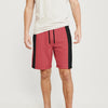 Next Summer Terry Jersey Short For Men-Red Melange & Black Stripe-BE8834
