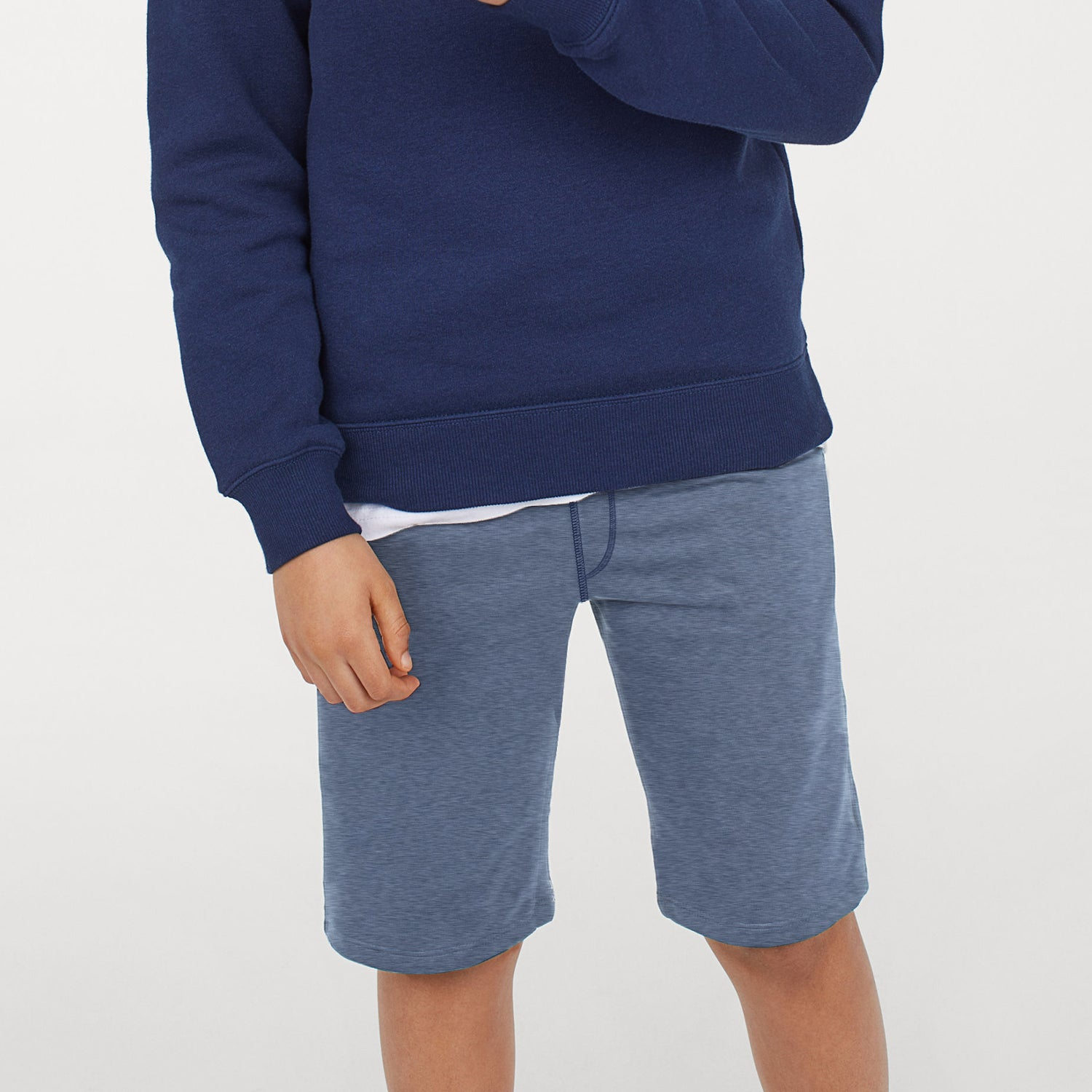Next Terry Fleece Burnout Wash Short For Kids-Light Blue with Faded-BE9181