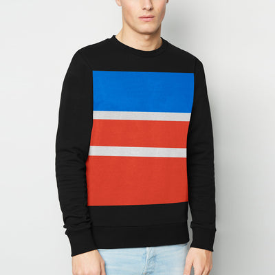 Next Terry Fleece Crew Neck Sweatshirt For Men-Black Multi Panels-BE11111