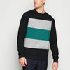 Next Terry Fleece Crew Neck Sweatshirt For Men-Black with Grey & Zinc Panels-BE11113
