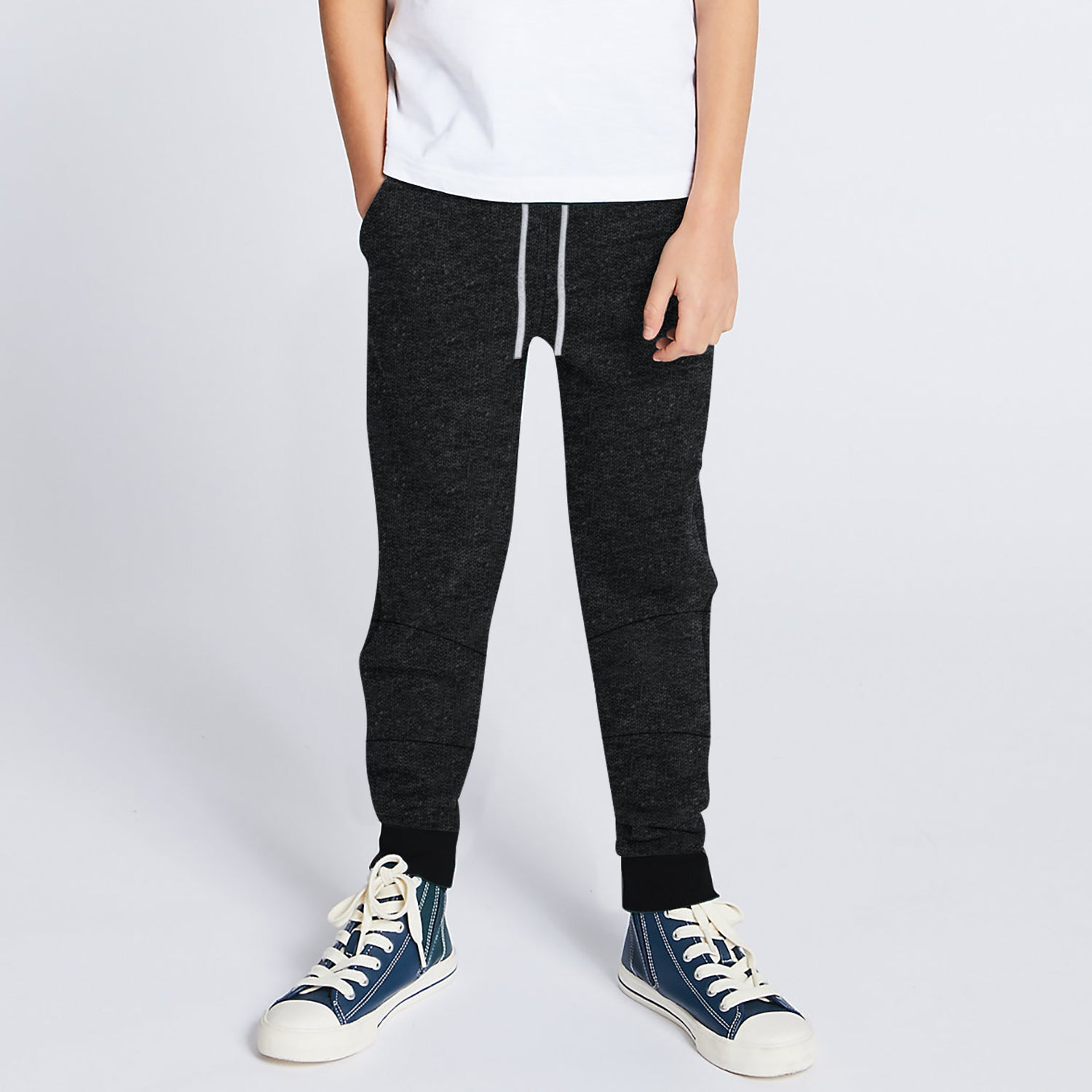 Next Terry Fleece Jogger Trouser For Kids-Black Melange-BE10057