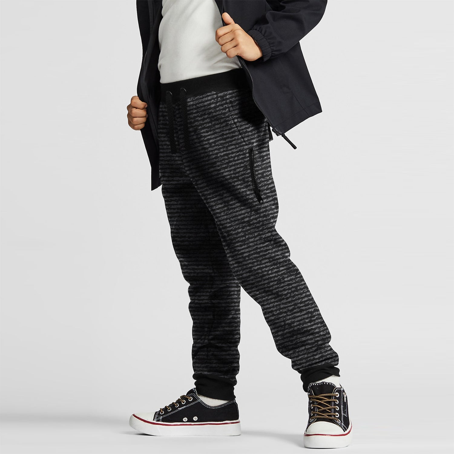 Next Terry Fleece Jogger Trouser For Kids-Black with Melange Lining-BE10043