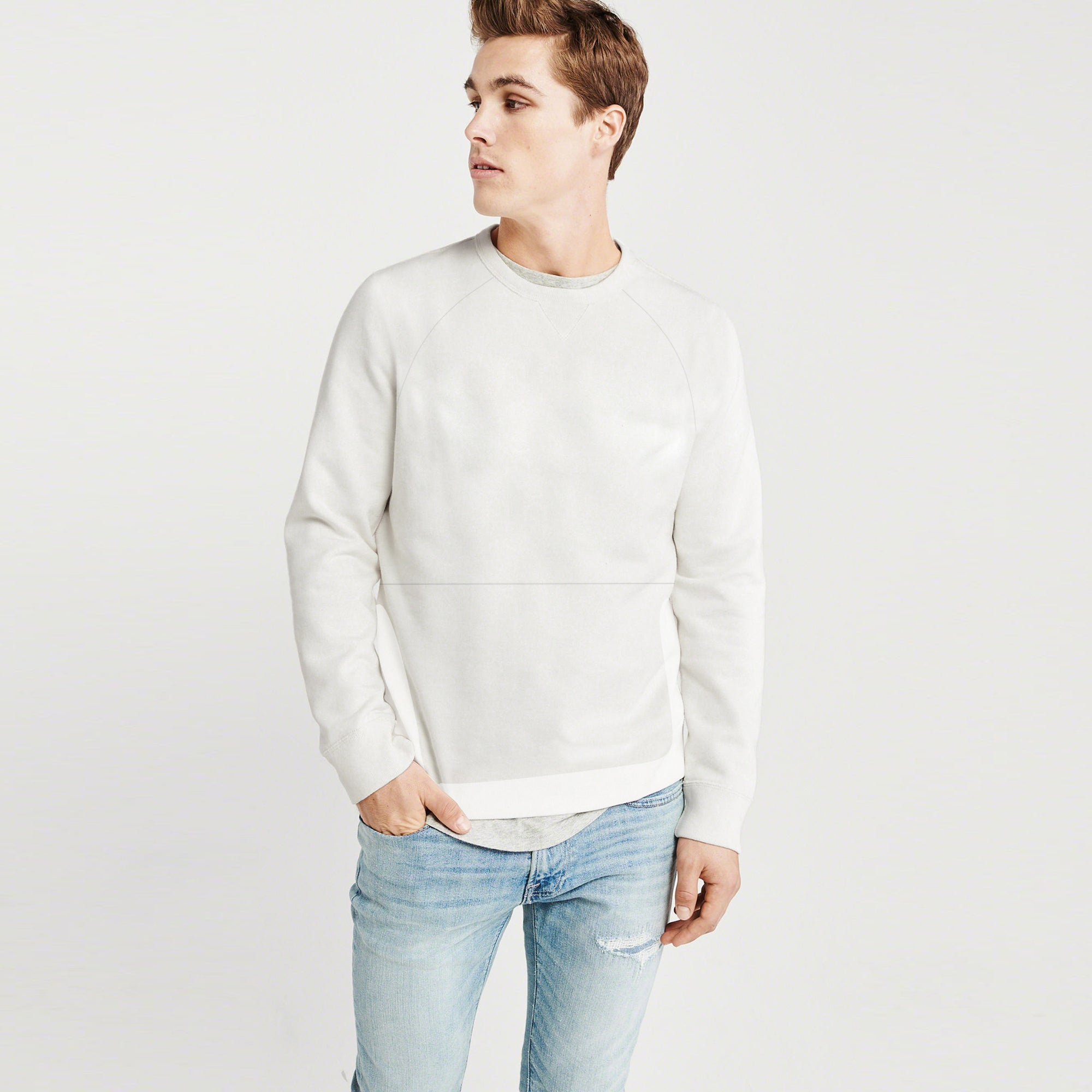 Next Terry Fleece Raglan Sleeve Sweatshirt For Men-Off White-BE7492