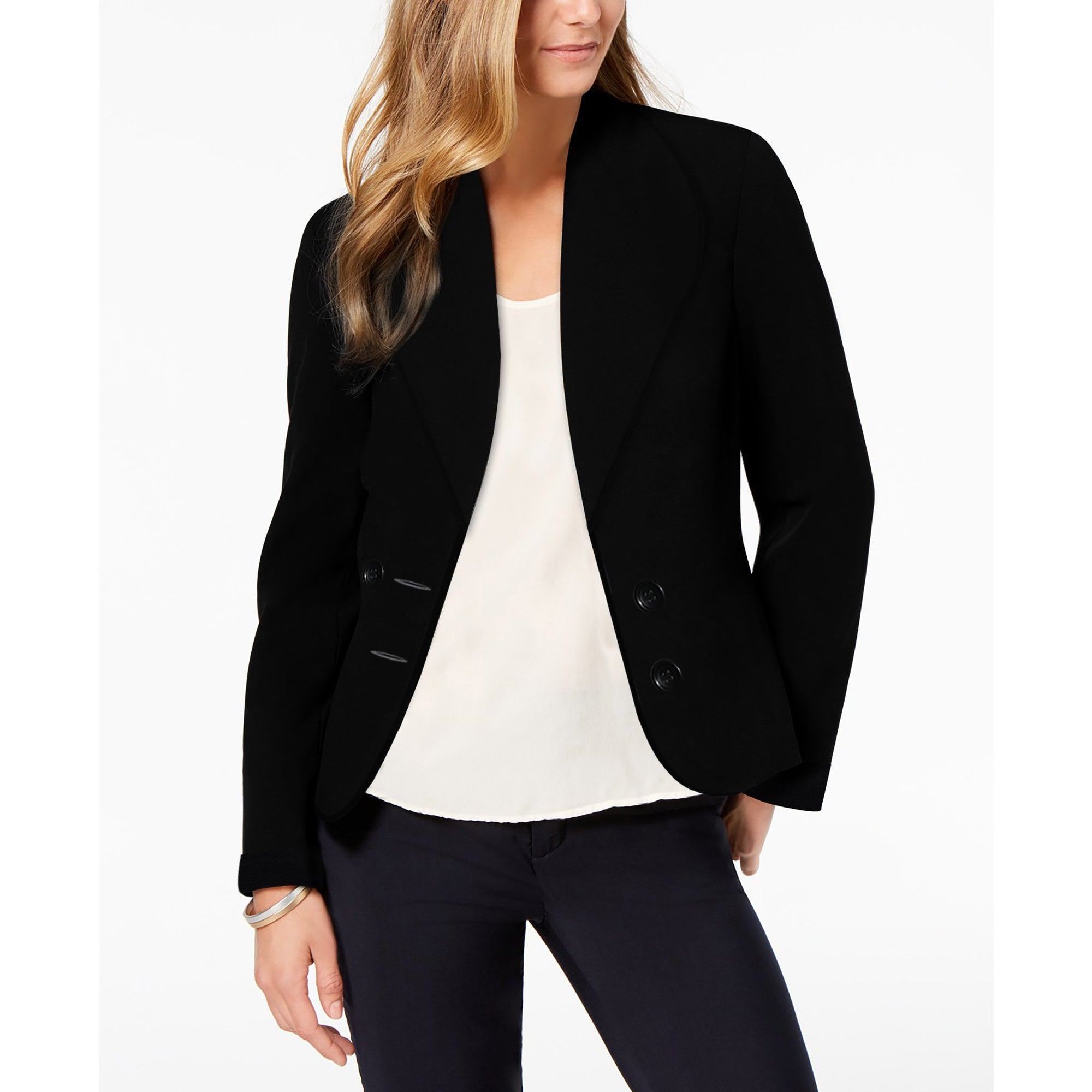 Next Terry Fleece Shawl Collar French Coat For Ladies-Black-BE7323