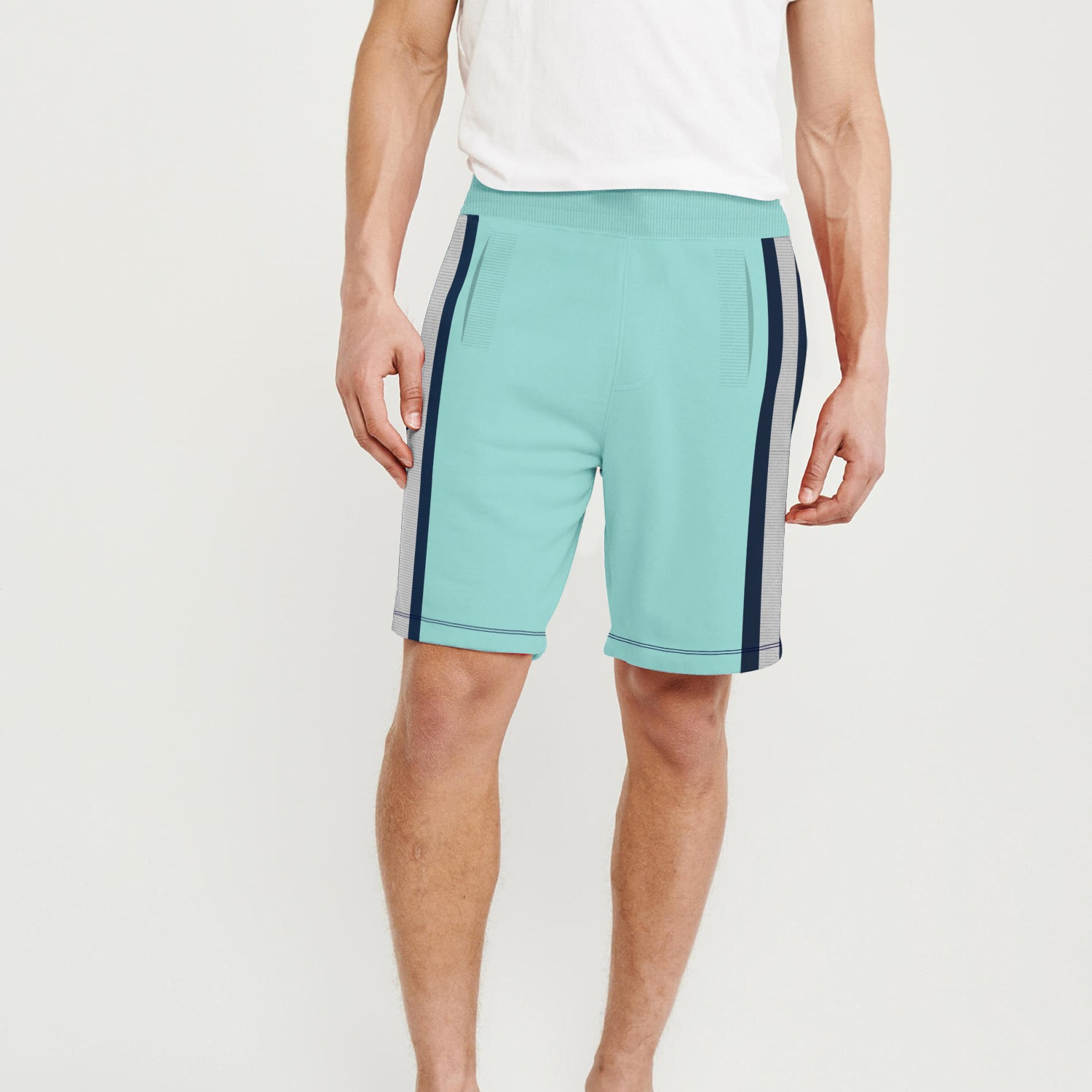 Next Terry Fleece Short For Men-Cyan Green with Stripe-BE9130