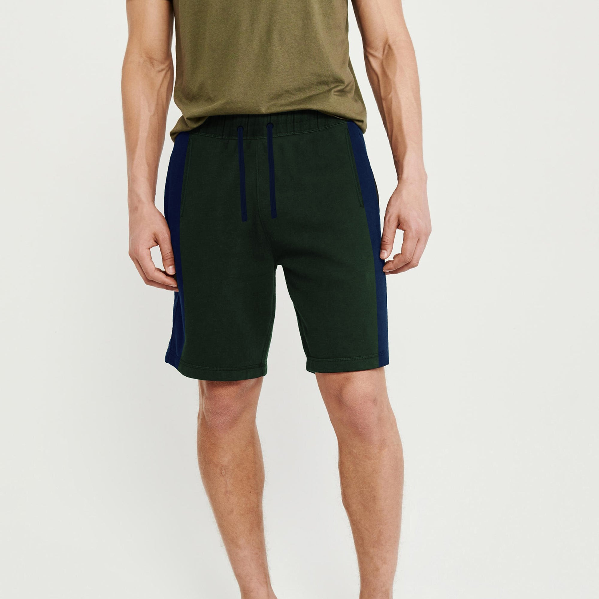 Next Summer Terry Jersey Short For Men-Dark Green & Blue Stripe-BE8822