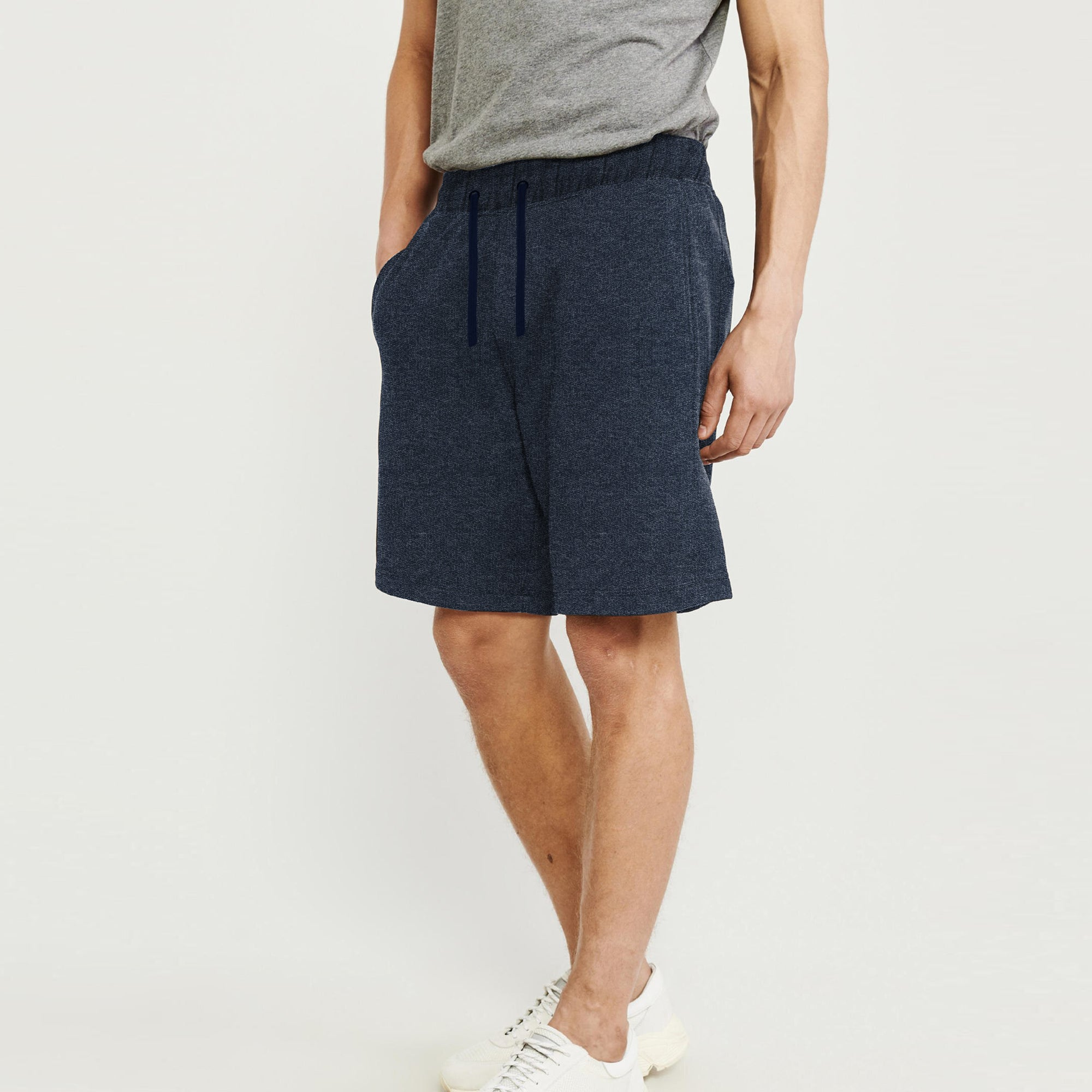 Next Terry Jersey Short For Men-Navy Melange-BE8820