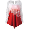 Nextmia Fashion Stylish Lace Yoke Ombre Top For Ladies-Red & White-BE8776