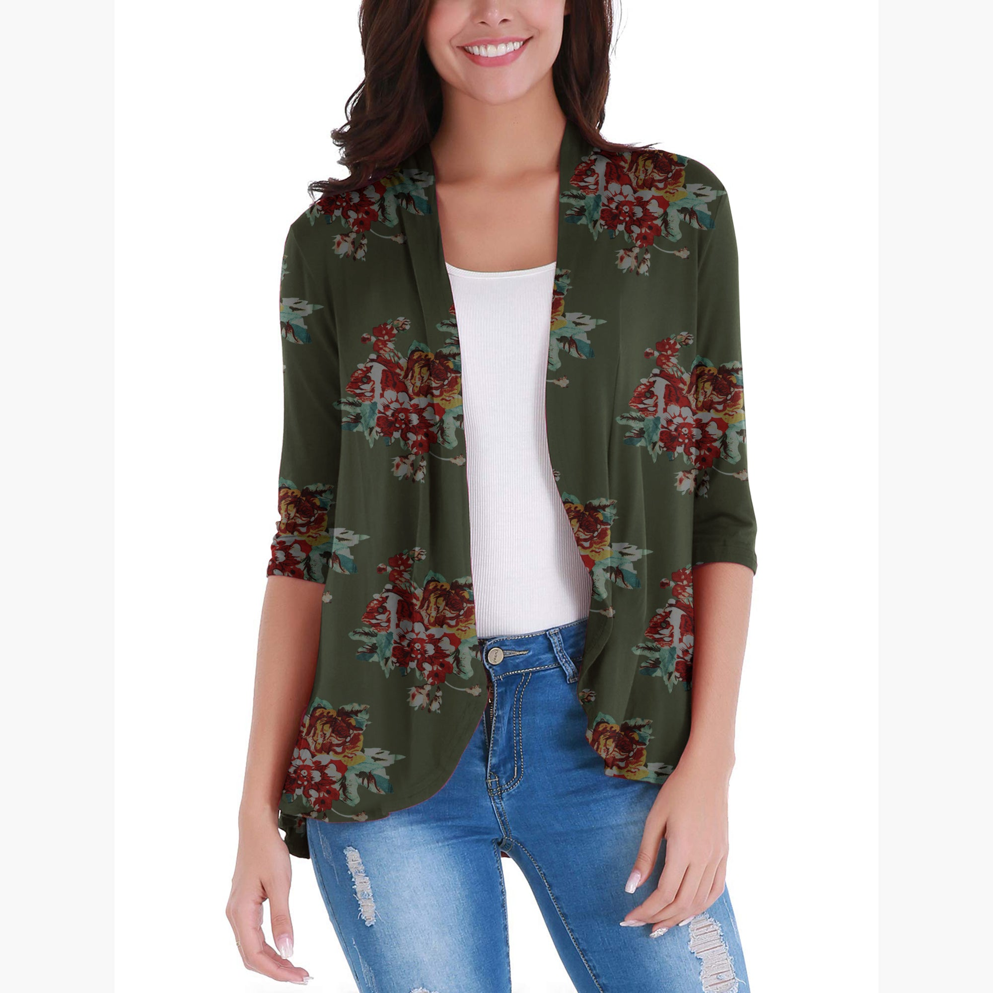 Nextmia Fashion Stylish Open Cardigan Top For Ladies-Allover Print-BE8816