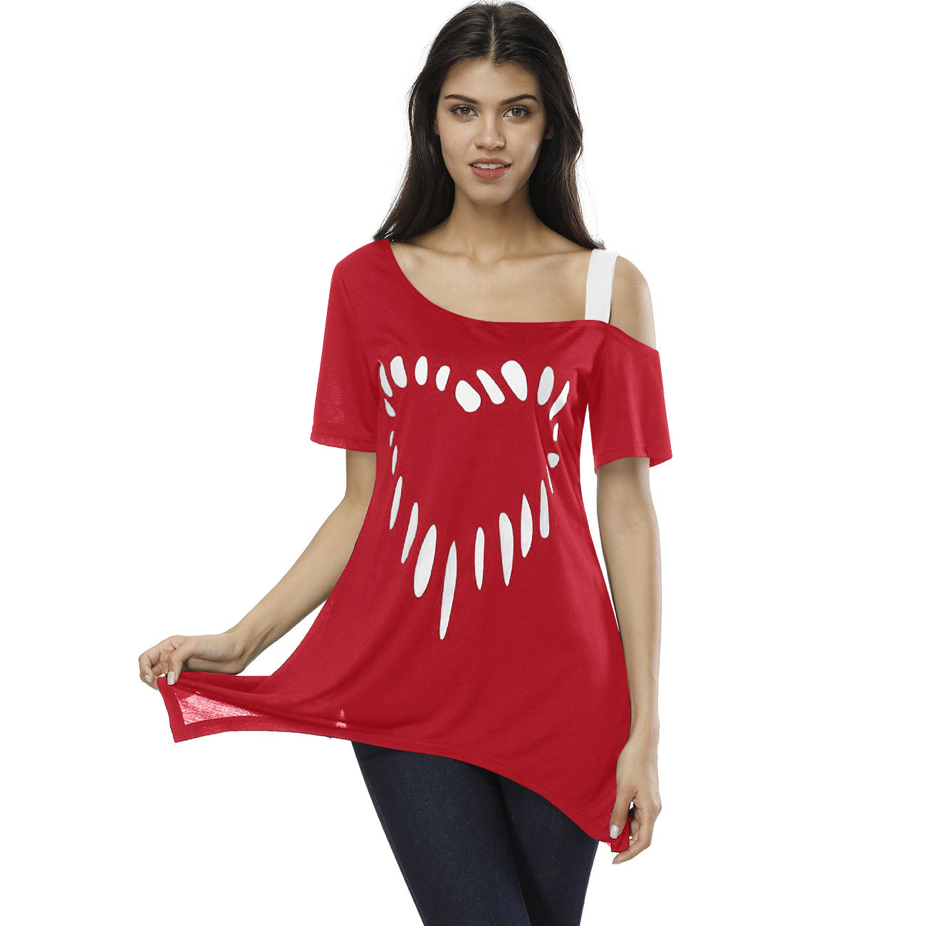Nextmia Strapless Cold Shoulder Love Printing Short Sleeve Skew Collar T-Shirt For Ladies-Red-BE8809