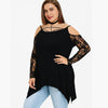 Nextmia Stylish Strappy Neck Lace Sleeve Shoulder Less Top For Ladies-Black-BE8817