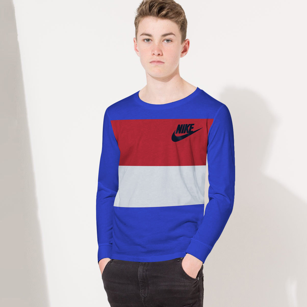 NK Crew Neck Single Jersey Long Sleeve Long Tee Shirt For Boys-Dark Blue with Red & Grey Panels-BE11863