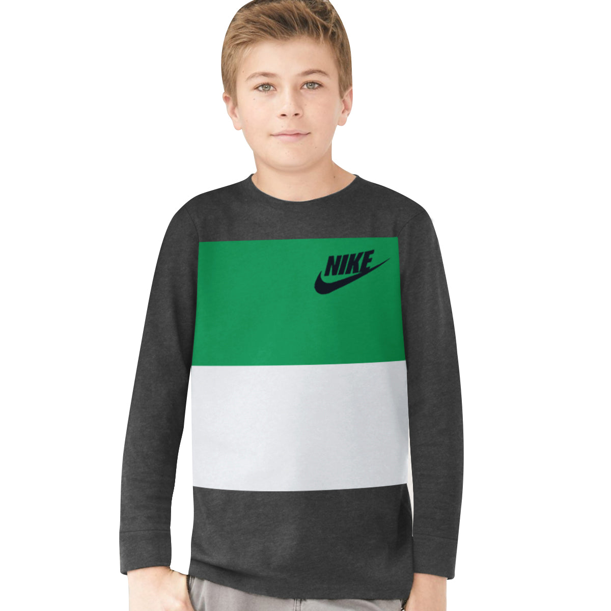 NK Crew Neck Single Jersey Long Sleeve Tee Shirt For Boys-Charcoal with Green & Ice Blue Panels-BE11960
