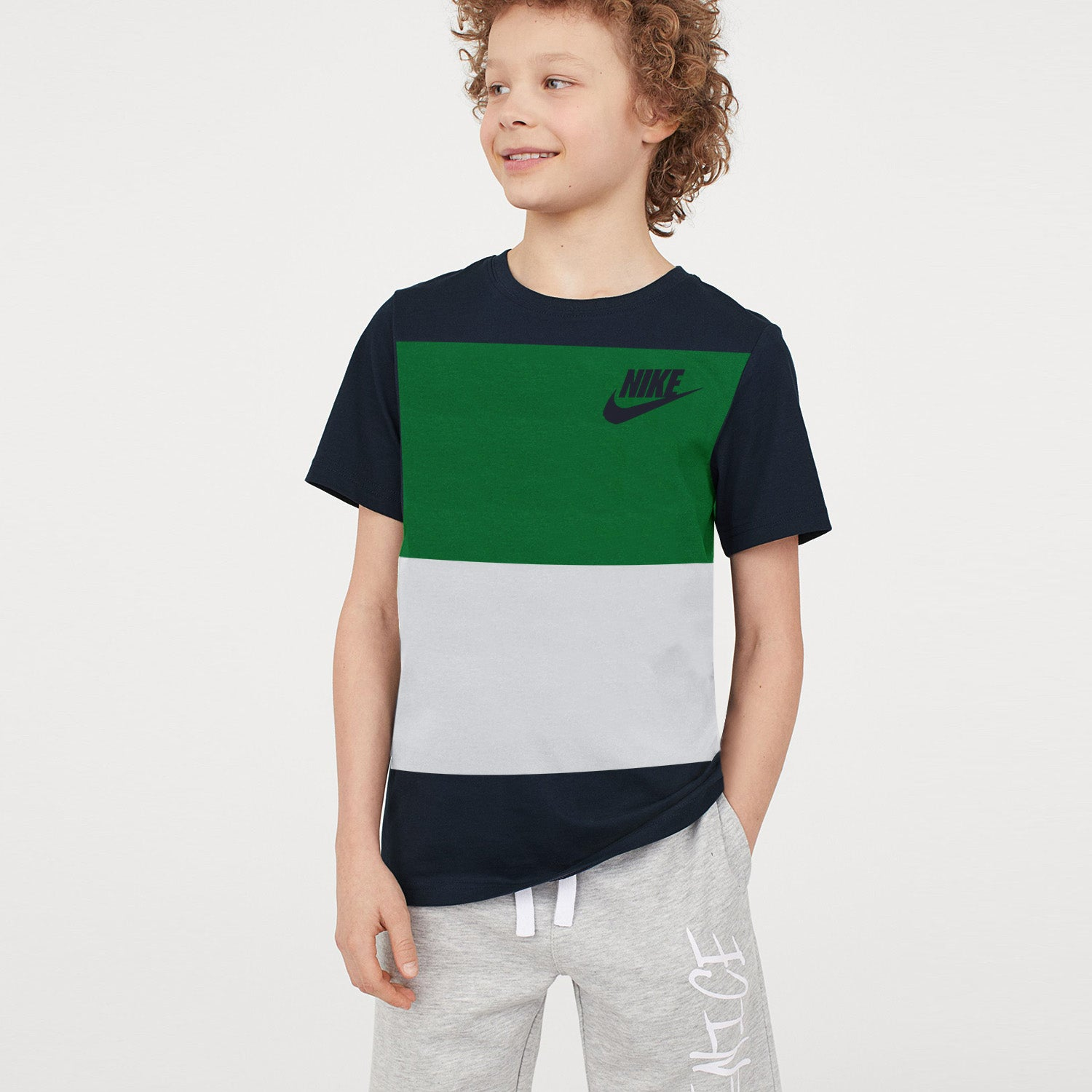 NK Crew Neck Single Jersey Short Sleeve Long Tee Shirt For Boys-Dark Navy with Green & Ice Blue Panels-BE11929