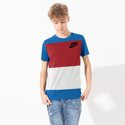 NK Crew Neck Single Jersey Short Sleeve Long Tee Shirt For Boys-Dark Zinc with Red & Grey Panels-BE11858