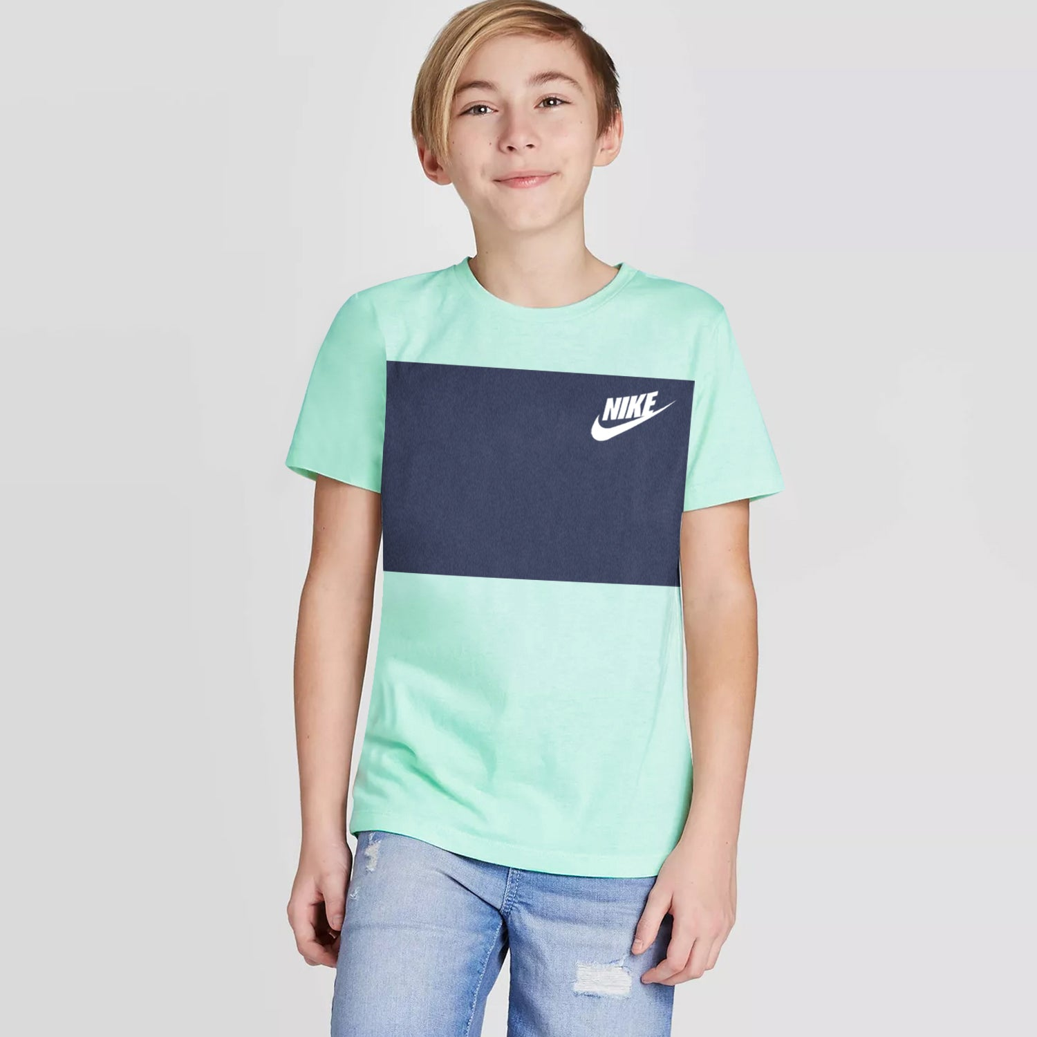 NK Crew Neck Single Jersey Short Sleeve Long Tee Shirt For Boys-Light Sea Green with Purple Panels-BE11956